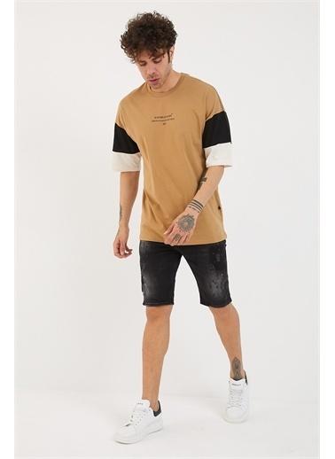 XHAN Bej Kolları Garnili Baskılı Oversize T-Shirt 1Yxe1-44879-25 Bej
